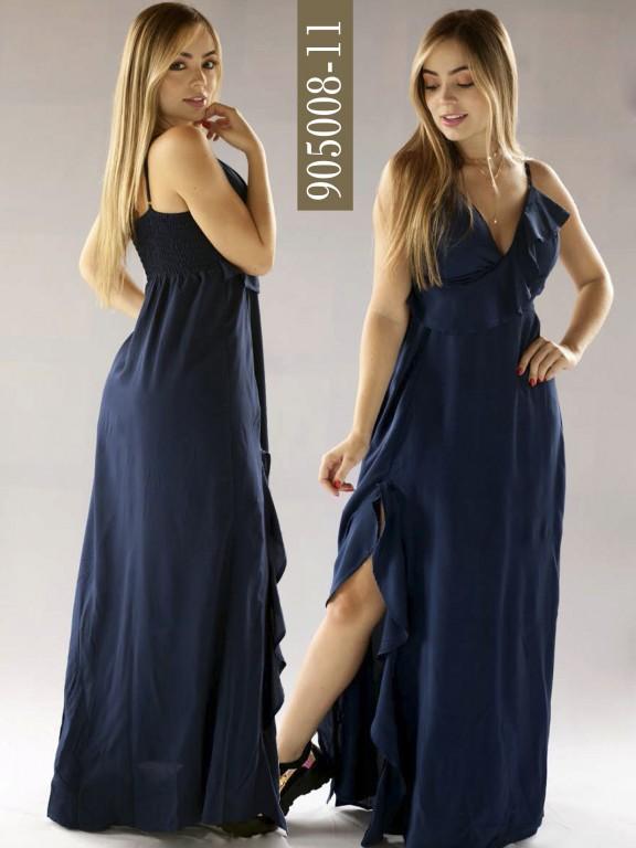 Vestido Colombiano - Ref. 266 -905008-11 Azul Oscuro