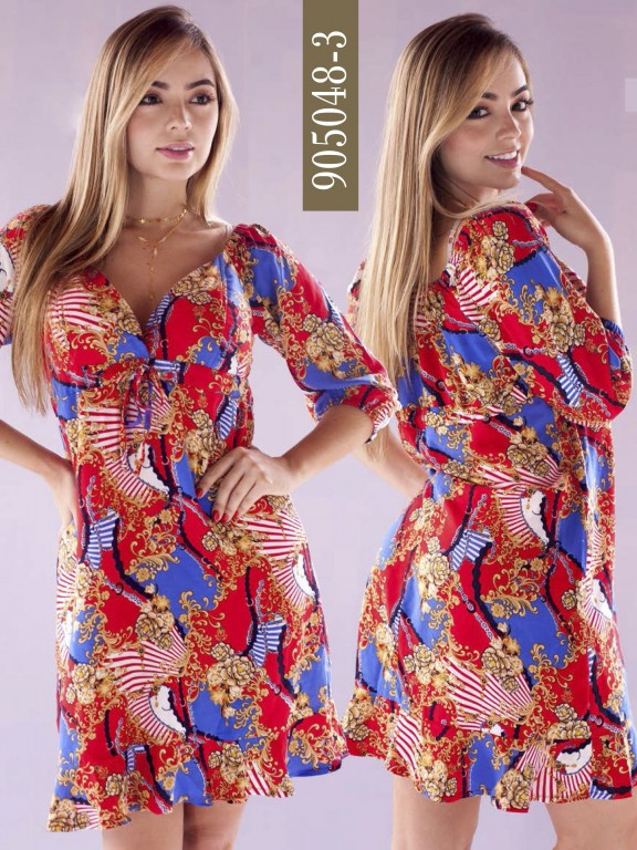Vestido Colombiano - Ref. 266 -905048-3 Rojo
