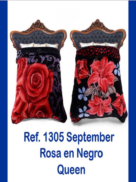 Cobija Q Rosas Negras - Ref. 272 -1305 Q Rosas Negras