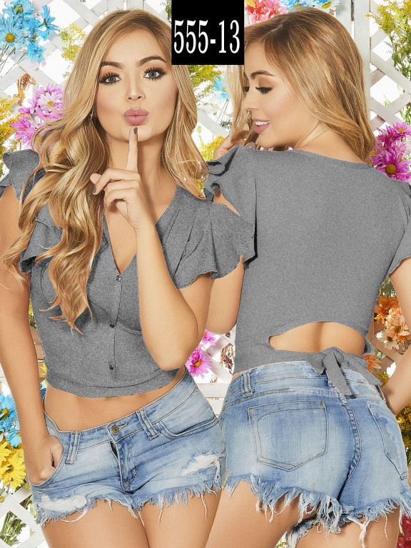 Blusa Colombiana - Ref. 268 -555-13 Gris
