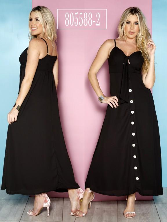 Vestido Colombiano - Ref. 266 -805588-2 Negro