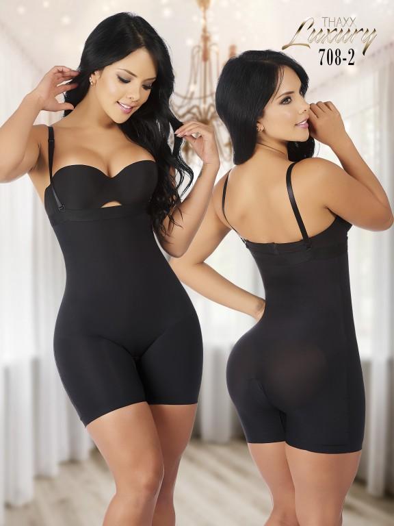 Thaxx Luxury Shapewear Women's Strapless Short Bodysuit, Black - Ref. 119 -708-2 PLUS
