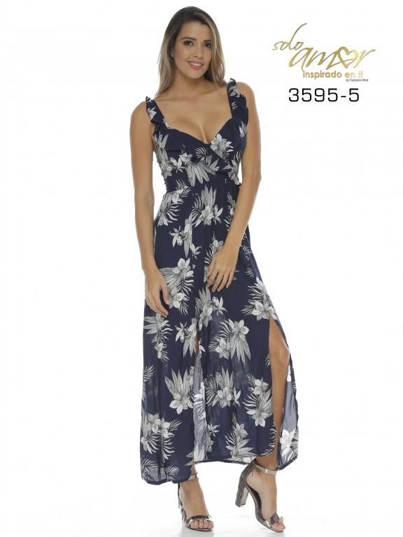 Vestido Colombiano - Ref. 246 -3595-5 Azul