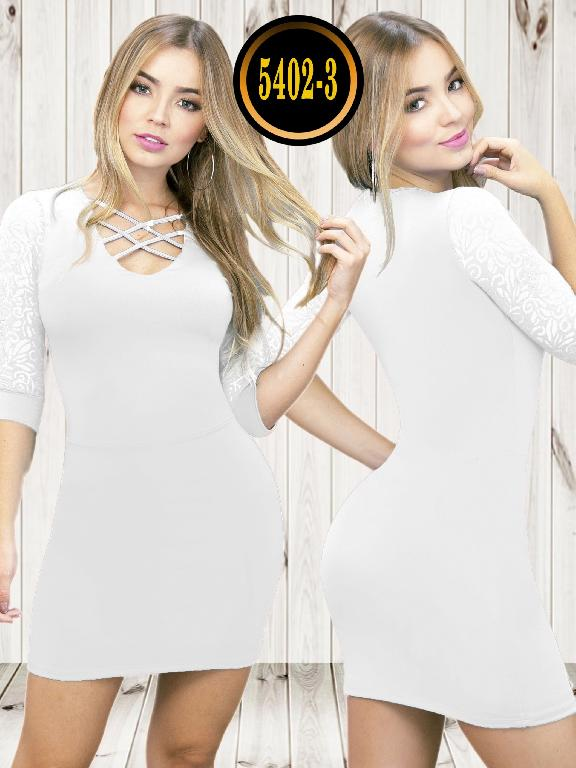Colombian dress - Ref. 119 -5402-3 Blanco