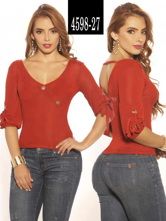 Blusa Moda Colombiana Vikats - Ref. 252 -4598-27 Terracota