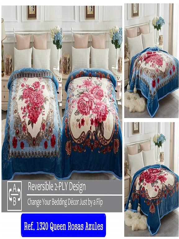 Cobijas Q Rosas Azules - Ref. 272 -1320 Q Rosas Azules