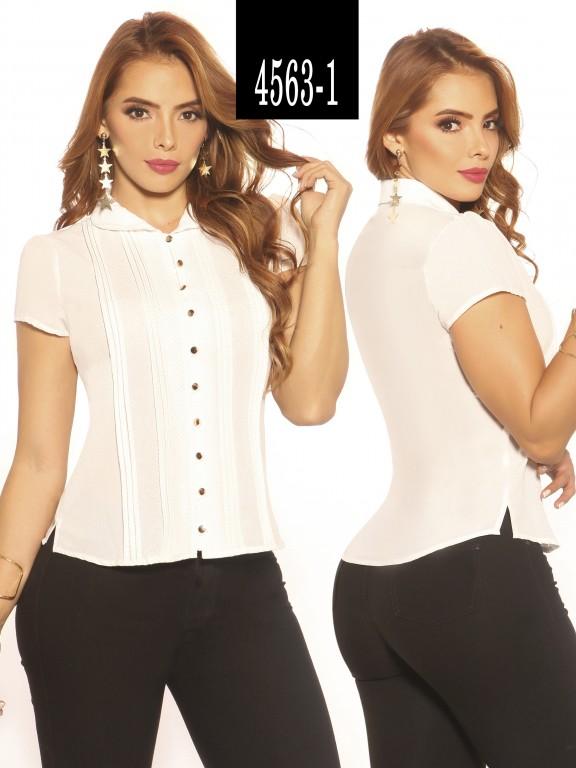 Blusa Moda Colombiana Vikats - Ref. 252 -4563-1 Blanco