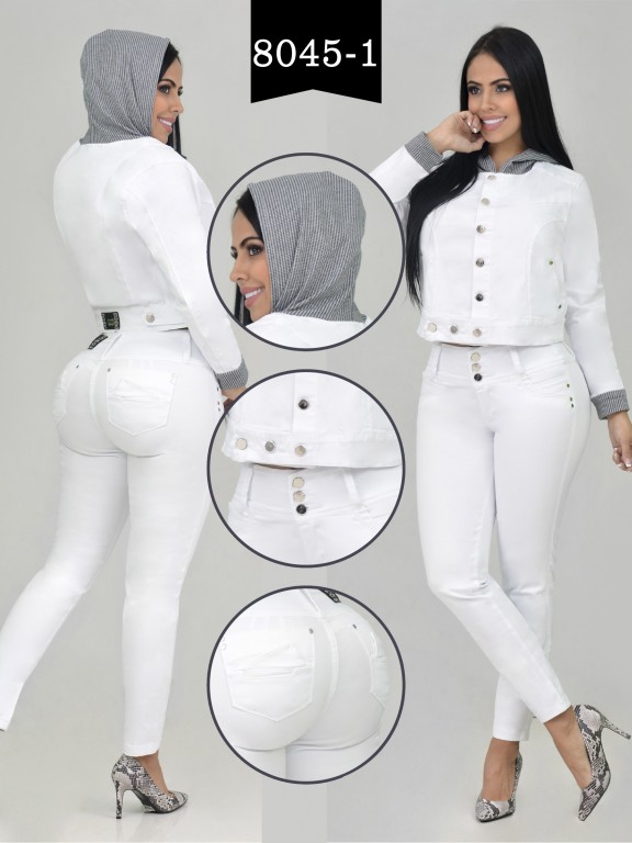 Colombian Set with butt lifting jean and jacket - Ref. 261 -8045-1 R Blanco