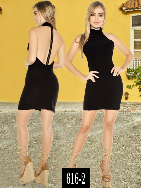 Vestido Colombiano - Ref. 268 -616-2 Negro