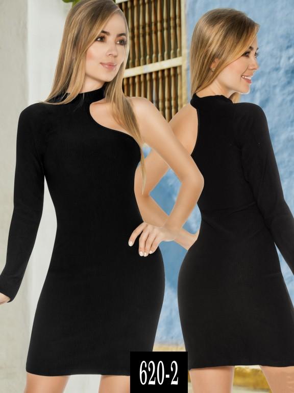 Vestido Colombiano - Ref. 268 -620-2 Negro