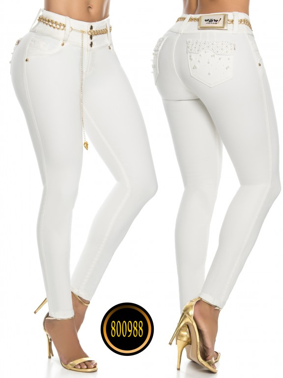 Jeans Levantacola Colombianos Wow - Ref. 243 -800988W Marfil