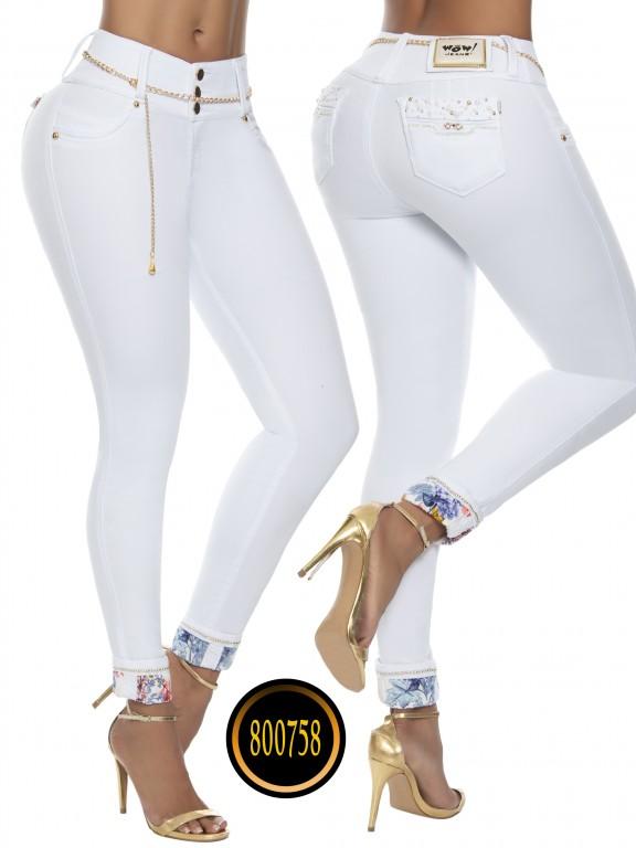 Jeans Levantacola Colombianos Wow - Ref. 243 -800758W-1 Blanco