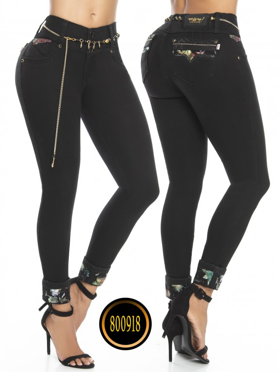 Jeans Levantacola Colombianos Wow - Ref. 243 -800918W-2 Negro