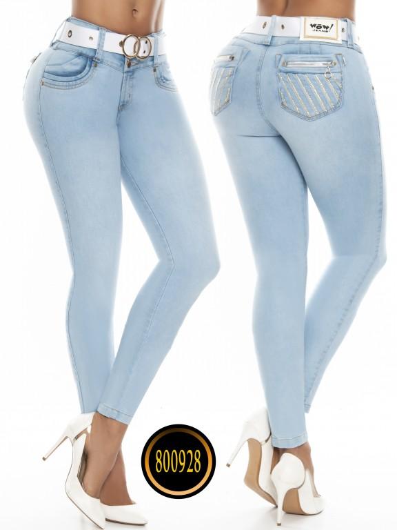 Jeans Levantacola Colombianos Wow - Ref. 243 -800928W-12 Azul Claro