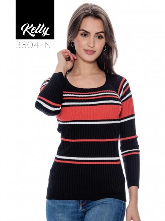 Sueter Kelly-3604 - Ref. 200 -KELLY-3604 Negro/Terracota