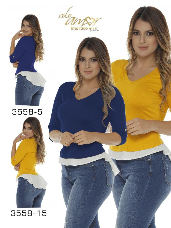 Colombian Blouse - Ref. 246 -3558-5 Azul