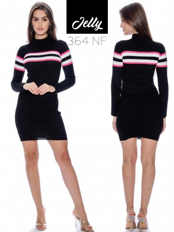 Vestido Jelly-364 - Ref. 200 -JELLY-364 Negro/Fucsia