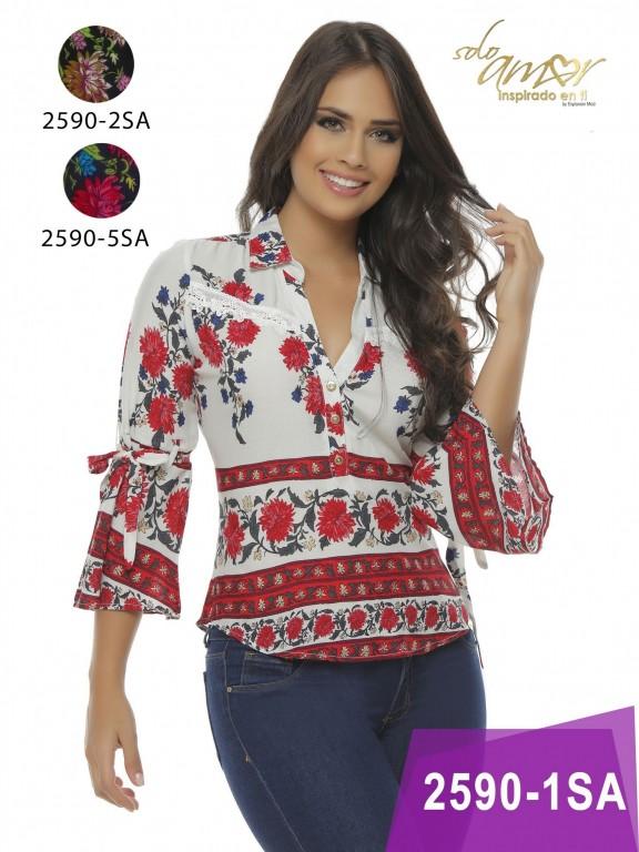Blusa Moda colombiana Solo Amor  - Ref. 246 -2590-5 Azul