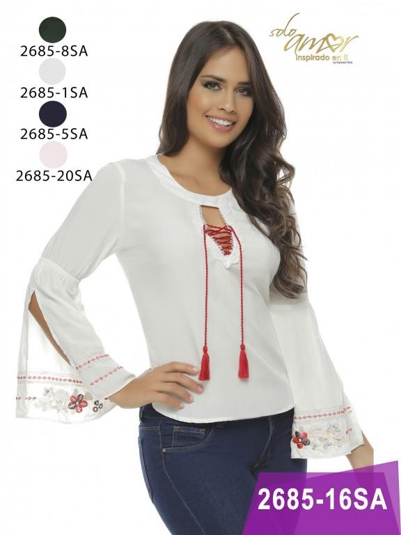 Blusa Moda Colombiana Solo Amor  - Ref. 246 -2685-1 Blanco