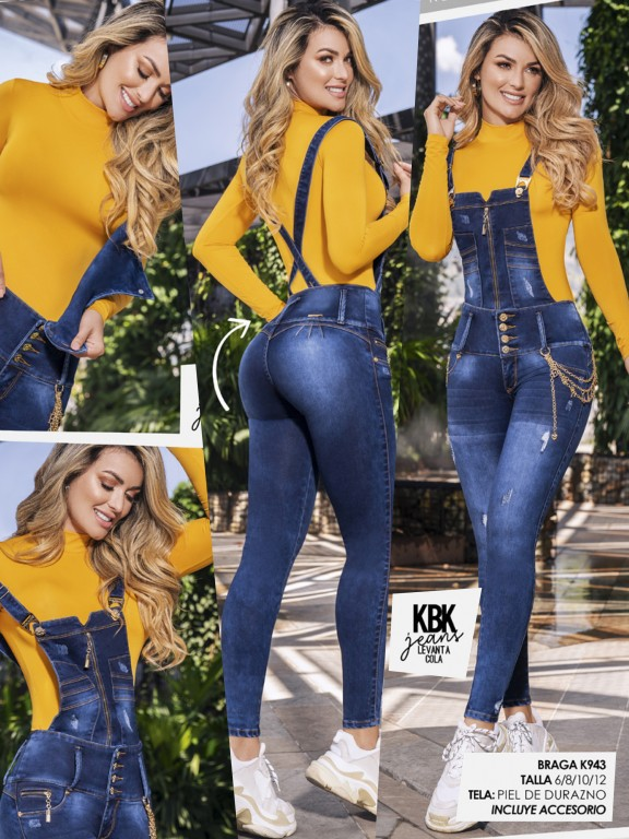 Butt Lifting Denim Overall with Detachable Top - Ref. 119 -943K