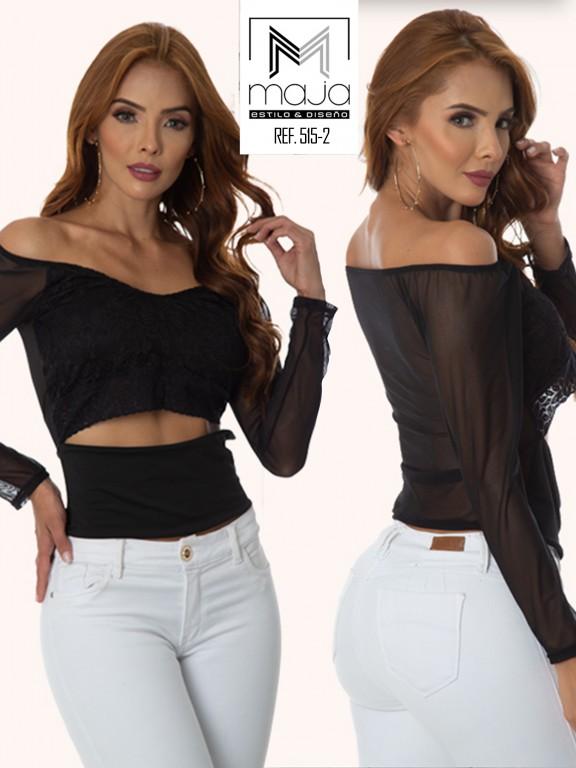 Colombian Fashion Blouse - Ref. 301 -515 Negro