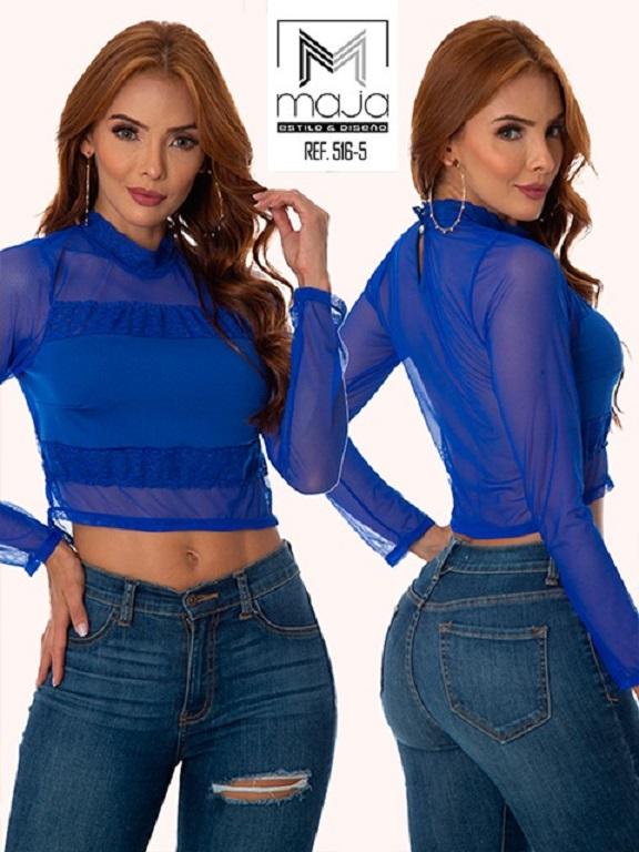 Colombian Fashion Blouse - Ref. 301 -516 Azul