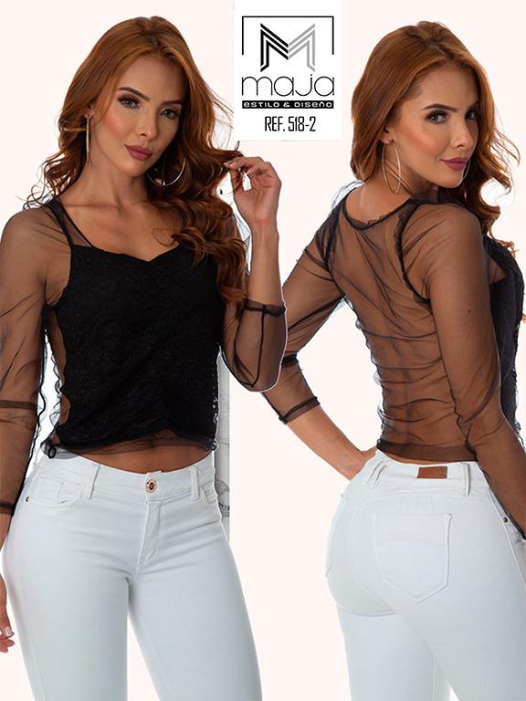 Colombian Fashion Blouse - Ref. 301 -518 Negro