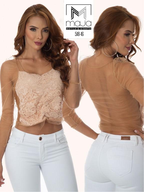 Colombian Fashion Blouse - Ref. 301 -518 BEIGE