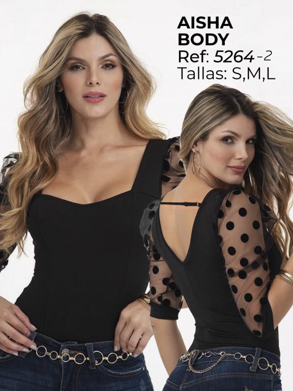 Colombian Fashion Bodysuit  - Ref. 252 -5264 Negro