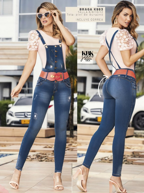 Butt Lifting Denim Overall with Detachable Top - Ref. 119 -983K