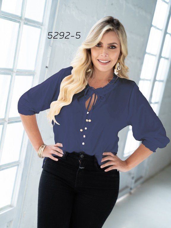 Blusa Moda Colombiana - Ref. 252 -5292 Azul Plus