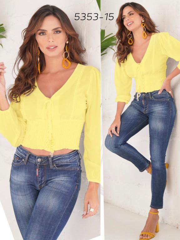 Blusa Moda Colombiana - Ref. 252 -5353 Amarillo