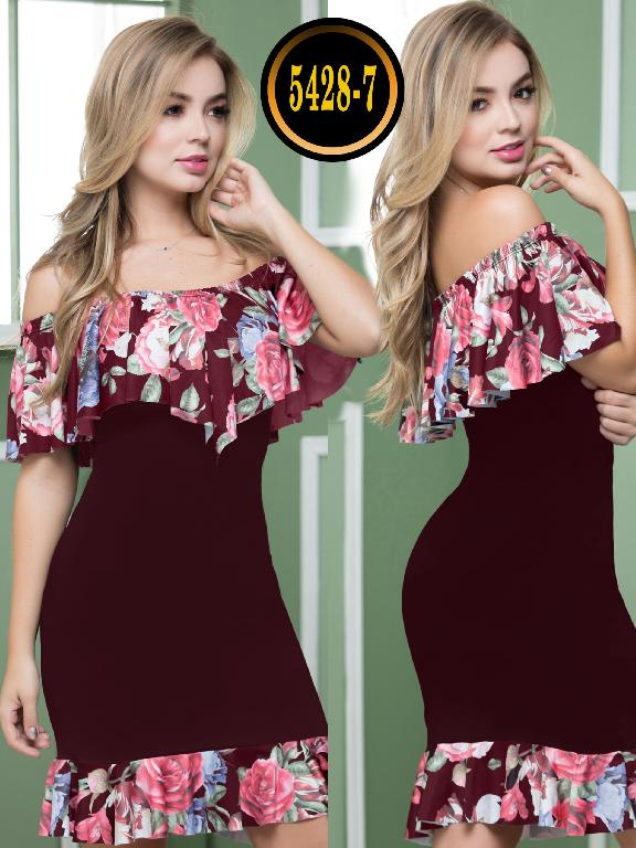 Colombian dress - Ref. 119 -5428-7 Vino Tinto