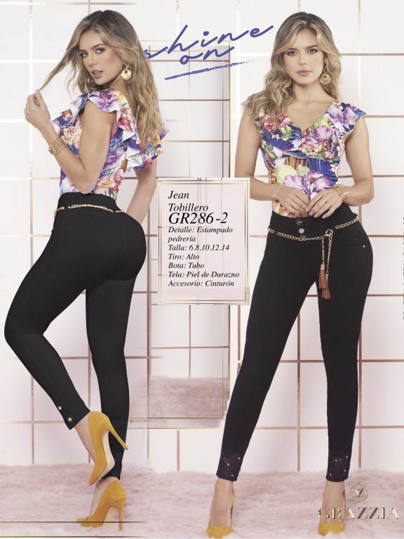 Colombian Butt lifting Jean - Ref. 306 -286 Negro