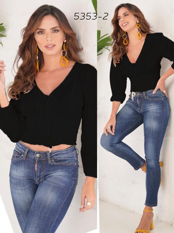 Colombian Fashion Blouse - Ref. 252 -5353 Negro