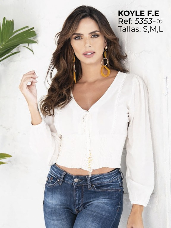 Colombian Fashion Blouse - Ref. 252 -5353 Beige