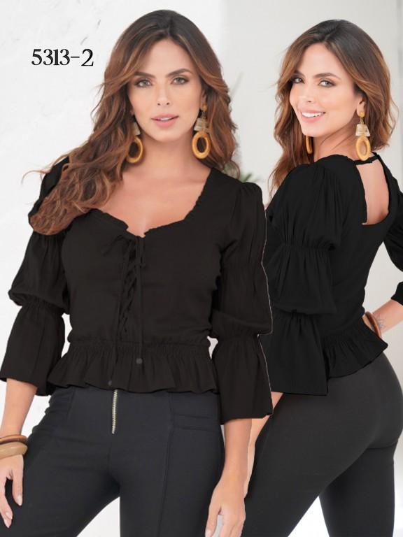 Colombian Fashion Blouse - Ref. 252 -5313 Negro