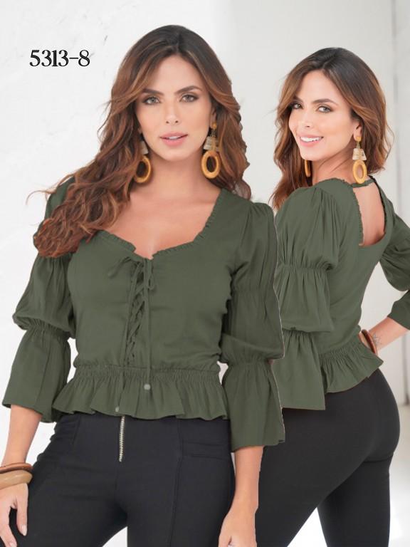 Colombian Fashion Blouse - Ref. 252 -5313 Verde