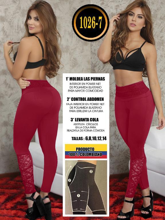 Colombian Butt Lifting Leggin - Ref. 119 -1026-7 Vino Tinto