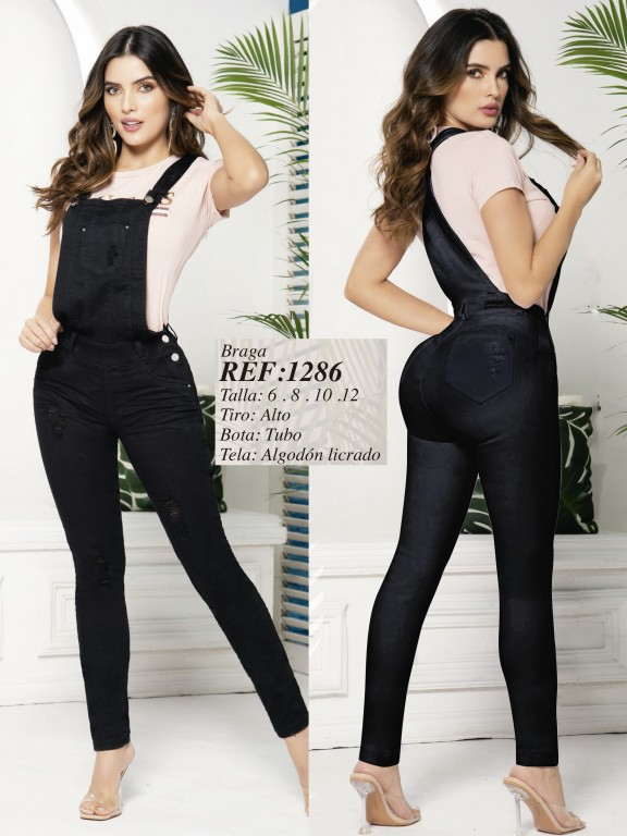 Butt Lifting Denim Overall with Detachable Top - Ref. 280 -1286 Negro