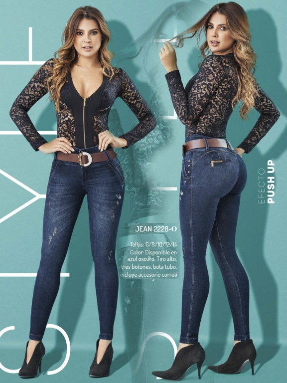 Jeans Levantacola Colombiano - Ref. 307 -2228 Oscuro