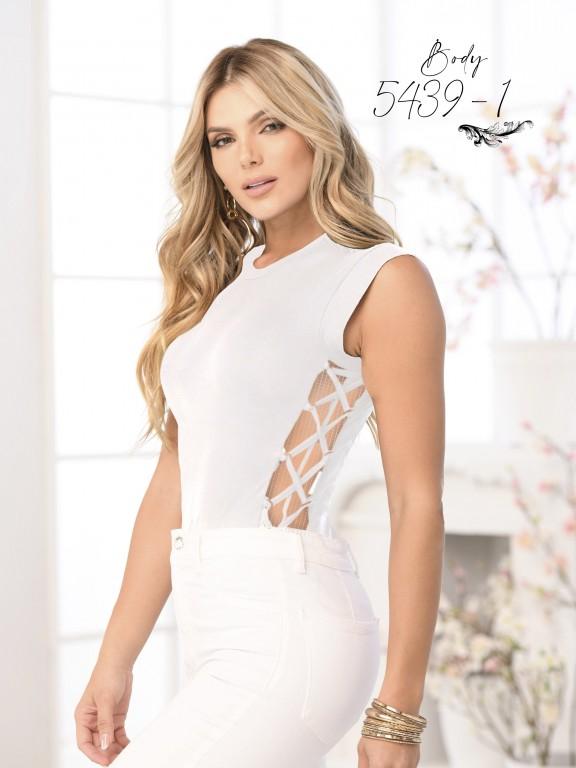 Colombian Fashion Bodysuit  - Ref. 252 -5439 Blanco