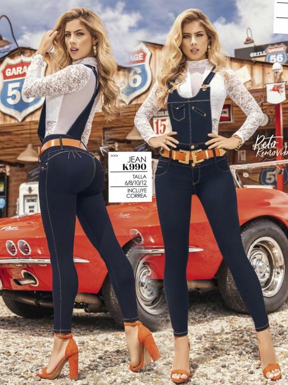Jeans Con Peto Levantacola Colombiano - Ref. 119 -990K