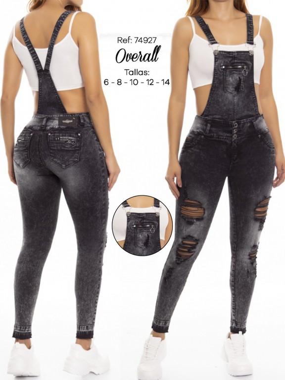 Jeans Con Peto Levantacola Colombiano - Ref. 248 -74927 D