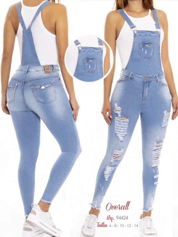 Jeans Con Peto Levantacola Colombiano - Ref. 248 -94424 D