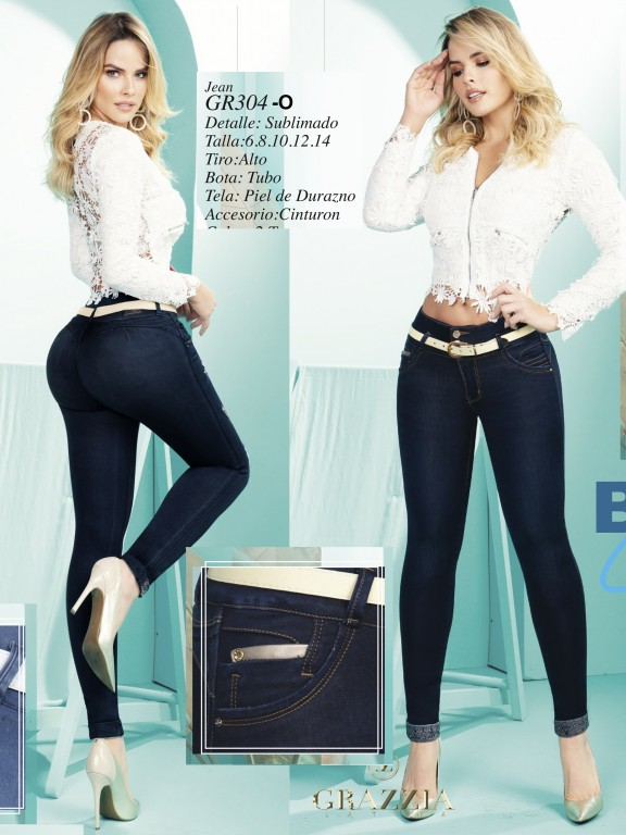 Jeans Levantacola Colombiano - Ref. 306 -304 Oscuro