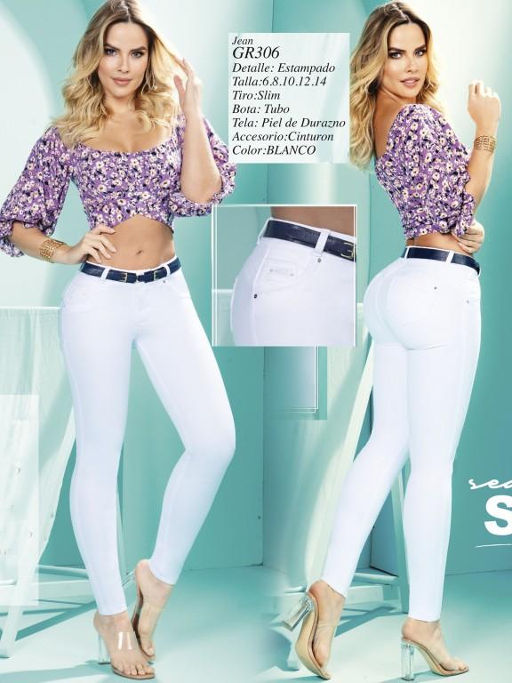 Jeans Levantacola Colombiano - Ref. 306 -306 Blanco