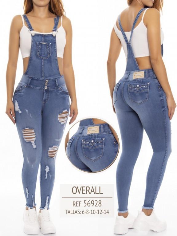 Jeans Con Peto Levantacola Colombiano - Ref. 248 -56928 D