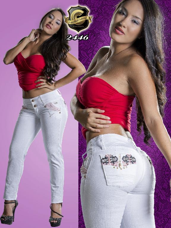 Colombian Butt Lifting Jeans White Color Capellini Boutique - Ref. 106 -2446