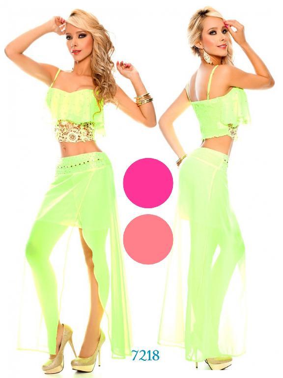 Vestido Moda Colombiana Yes Brazil - Ref. 113 -7218 Pink Neon